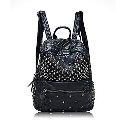 Yoome Zaino con borsa a tracolla nera scolpita con borchie in pelle lavata con borchie