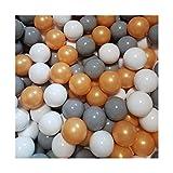 100 Bälle Ø 7cm Bälle für Bällebad viele bunte Farben Baby Kind Spielbälle Kugelbad Plastikbälle Blau Türkis Grau Pink Rosa Schwarz Weiss (Gold, Grau und Weiss)