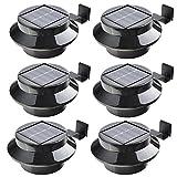 6 Stück Solarlampe 3 LED Dachrinnen Außenlampe Leuchte Wandlampe Solar Garten (schwarz(6 Stück))