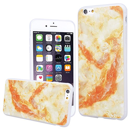 WE LOVE CASE iPhone 6 Plus / 6s Plus Hülle 3D Scheuern Entlastung Federn Campanula iPhone 6 Plus / 6s Plus Hülle Silikon Weich Weiß Handyhülle Tasche für Mädchen Elegant Backcover , Soft TPU Flexibel  marble