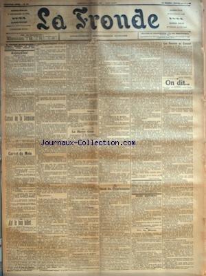 FRONDE (LA) [No 662] du 01/10/1899 - AH! LE BON BILLET... PAR S. - LA HAUTE COUR - INTERROGATOIRE DE M. DEROULEDE - L'INCIDENT DU PHOTOGRAPHE - INTERROGATOIRE DE M. BAILLIERE - INTERROGATOIRE DE M. BARILLIER PAR H. S. - LE DROIT DU CHARBONNIER PAR UNE PASSANTE - MESURES DISCIPLINAIRES - UN DE MOINS - LES FEMMES AU CREUSOT PAR JEANNE BREMOND - ON DIT... - PENSIONS DE RETRAITE POUR VIEIL LARDS - DIANES CHASSERESSES - POUR VISITER L'EXPOSITION DE 1904 - DRESSAGE DES VOLONTAIRES -