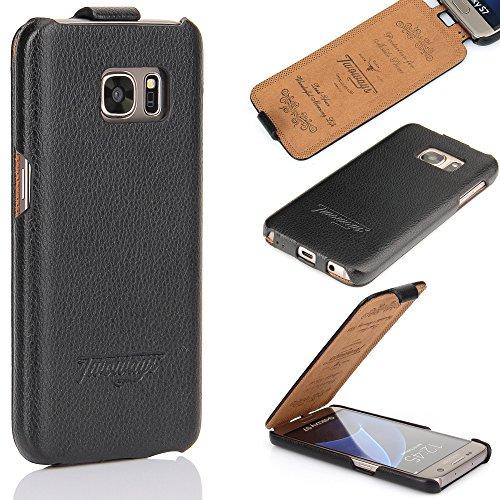 Samsung Galaxy S7 Hülle - ECHTES LEDER HANDGEFERTIGT - bester Schutz Ihres Handys im Flip Cover Design - Etui Case Schale für Ihr Smartphone von TWOWAYS - Handyhülle in Schwarz (Handy Cover Aus Leder)