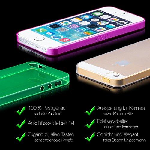 iCues Apple iPhone SE / 5S / 5 |  Zero Matt Case Schwarz | [Display Schutzfolie Inklusive] Extra Leicht sehr Dünn Transparent Klarsichthülle Durchsichtig Klare Klarsicht Schutzhülle Hülle Cover Schutz Lila