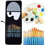 Leey 12 pennelli per pittura ad acquerello PCS con tavolozza e astuccio 12 x pennelli per pittura 1x tavolozza di colori 1x custodia tela, carta, legno, tessuto, ceramica (Blu)