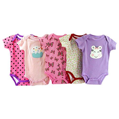 BOZEVON Set (5pcs) Baby Strampler 100% Baumwolle Babystrampler ärmellos Nachtwäsche Strampelanzug Junge Mädchen