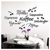Grandora 1075W Wandtattoo Kaffee Coffee I weiß Kreativset I Küche Esszimmer selbstklebend Aufkleber Kaffeebohnen Wandaufkleber Wandsticker