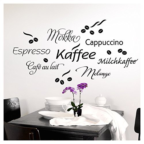 Grandora 1075W Wandtattoo Kaffee Coffee I braun Kreativset I Küche Esszimmer selbstklebend...