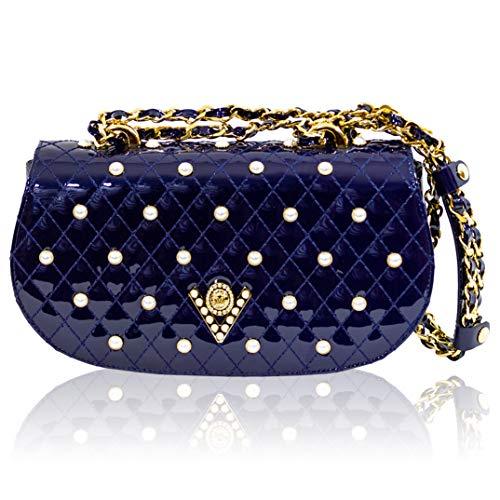 Valentino Orlandi Italienischer Designer Designer Quilted Cobalt Blue Baquette Jeweled Tasche -