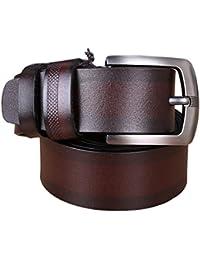 Panegy - Cinturón de Cuero piel para Hombres con Hebilla - negro marrón café - 120cm 125cm 130cm 135cm