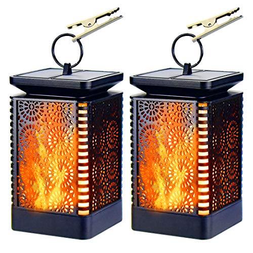 Lumiereholic 2x Solarleuchten Außen Flamme LED Flammelampe Gartenleuchte Solarlampe Wasserdicht Solar Laterne für Flur Hof Garten Balkon Haus Wege Baum