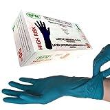 SFM ® HIGH RISK : S, M, L, XL Latex 14,5g blau puderfrei volltexturiert Einweghandschuhe Einmalhandschuhe Untersuchungshandschuhe Latexhandschuhe L (50)