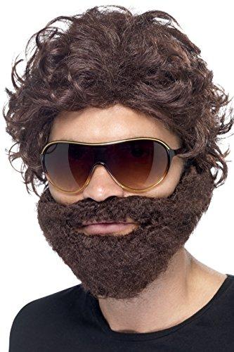 Smiffys Herren Jungesellen Kit, Perücke, Bart und Sonnenbrille, Braun, One Size, (Kostüm Perücke Braune)