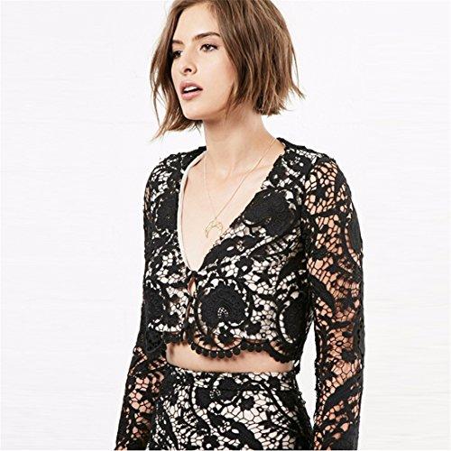 Sexy Frauen Langarm V Ausschnitt Lace aushOEhlen Short Midriff UEbersteigt Blusen T Shirt Schwarz