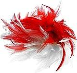 Haarclip ~ Federn rot weiß ~ Haarschmuck Karneval Kostüm Fasching Haarspange