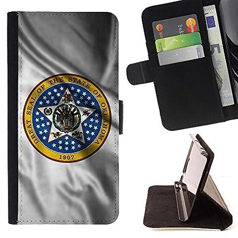 FJCases Oklahoma The Sooner State Wehende Siegel Flagge Tasche Brieftasche Hülle Schale Standfunktion Schutzhülle für LG Nexus 5