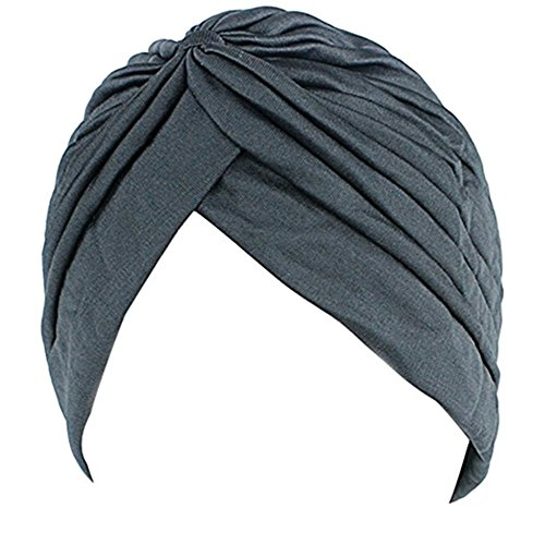 KingNew Unisex indischen dehnbar Turban Hat Haar Kopf Wrap Gap Headwrap Schal Sleep Cap, Navy Blau -