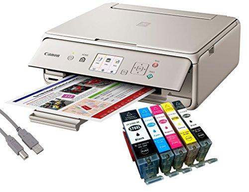 Canon Pixma TS5053 Tintenstrahl-Multifunktionsgerät grau (Drucken, Scannen, Kopieren, WLAN, Print App) + USB Kabel & 5 YouPrint® Tintenpatronen (Originalpatronen ausdrücklich Nicht im Lieferumfang)