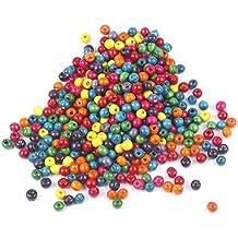 TRIXES 500 Cuentas de 9 mm de Madera en Colores Mezclados para Joyería Artística, Collares Brazaletes