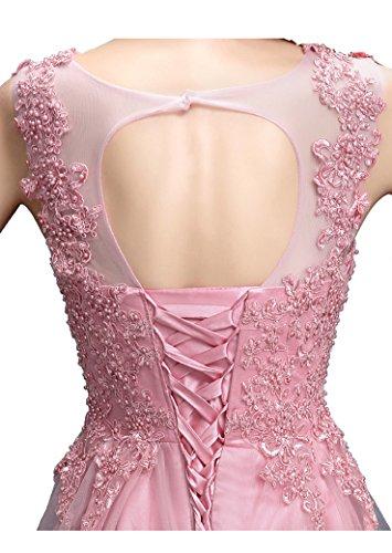 Beauty-Emily Perla Lace-up senza maniche lungo See Through abito da sera Viola