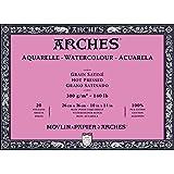 Arches blocco per acquerello incollato 4 lati (20 fogli) - grana satinata - 300 g/mq- 26 x 36 cm