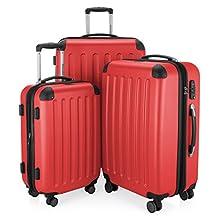 HAUPTSTADTKOFFER - Spree - Set de 3 valises, Bagages rigides, ABS, TSA, extensible, extra léger, 4 roues, (S M & L), Rouge