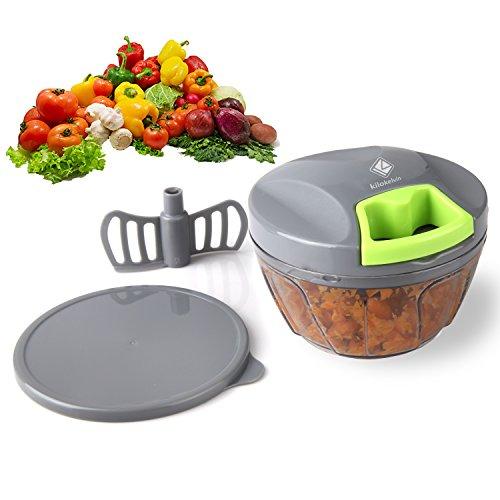 Kilokelvin Hachoir Oignons, Hachoir Manuel de Légumes Fruits, Hachoir Manuelle 3 Lames Cuisine Coupe oignon/Coupe ail, Mini...
