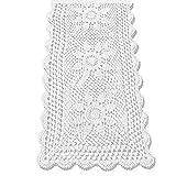 tidetex Baumwolle Sunflower Tischläufer rechteckig Crochet Spitze Hohl Tischdecke ländlichen Hand Weave Stricken Bezug Tuch Möbel Decor Spitzendeckchen, baumwolle, weiß, 40 x 80 cm