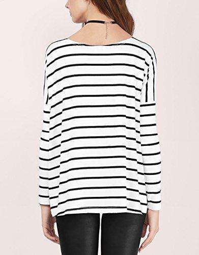 T Shirt Donna Manica Lunga Rotondo Collo Stampa A Strisce Bianco E Nero Vintage Maglietta Eleganti Moda Casual Autunno Magliette T-Shirt Camicia Bianco