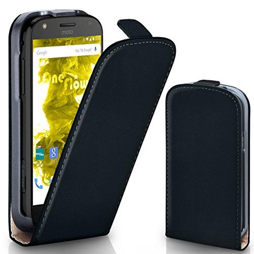 moex Lenovo Moto Z Play | Hülle Schwarz 360° Klapp-Hülle Etui Thin Handytasche Dünn Handyhülle für Motorola Moto Z Play Case Flip Cover Schutzhülle Kunst-Leder Tasche