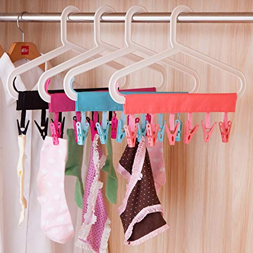 Nice 12pcs Colorful Clothespins Hook Laundry Clips Multipurpose Bra Socks Hanger Pegs Drop Ship Robe Hooks
