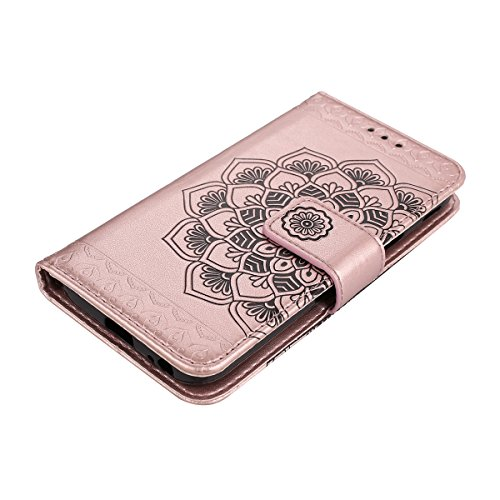 Custodia per Samsung J5 2017 (Versione europea), Galaxy J5 2017 (Versione europea) Cover a libro, iphone X Cover Flip, MoreChioce Lusso Bookstyle Flip PU Pelle Cover Moda Design Modello Gatti e alberi Mandala-Rose gold