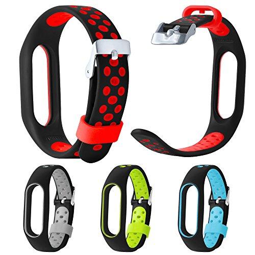 Feitb Neue wasserdichte leichte lüften tpe Edelstahl Schnallendesign handschlaufe armband Fitness Tracker armband für xiaomi mi band 2 (Rot)