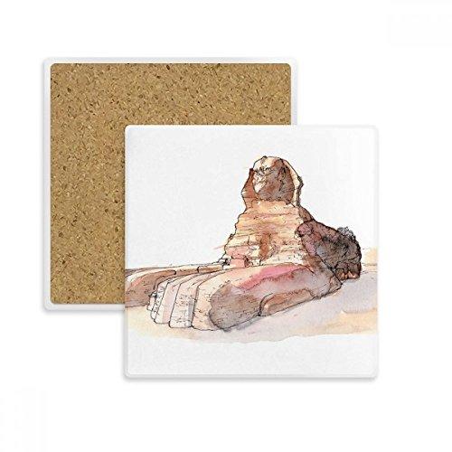 Große Sphinx (DIYthinker Große Sphinx von Gizeh in Ägypten Platz Coaster-Schalen-Becher-Halter Absorbent Stein für Getränke 2ST Geschenk Mehrfarbig)