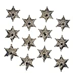 Juvale 12-Pack Metal Sheriff Deputy Cowboy Toy Badges for Kids, Party Favors, and Pretend Play, 2.7 Inches Diameter