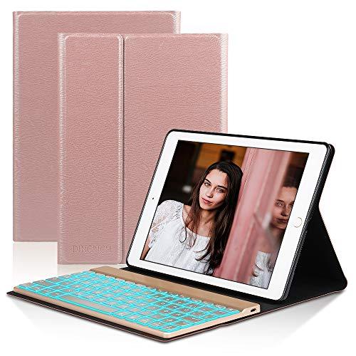 Tastatur Hülle Kompatibel mit iPad 2018- iPad 2017- iPad Pro 9.7- iPad Air 2 & 1- Smart case- Hinterleuchtet- Bluetooth Tastatur- QWERTZ- Magnetischen Schlaf/Wach- ipad 9.7 Tastatur Hülle - Rose gold (Ipad Air 2 Case Ohne Tastatur)