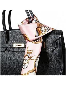 Silk Run- rosa cadena, bufanda cuadrada de seda 100% (55cmx55cm)
