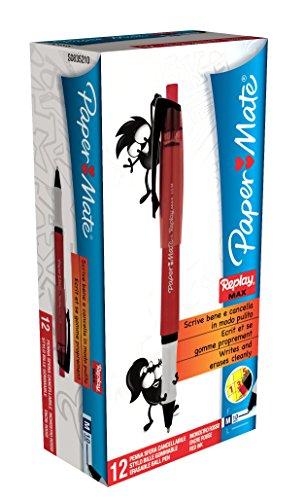 Paper mate replay max-penna a sfera cancellabile, punta media confezione da 12 rosso