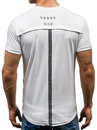 BOLF Herren T-Shirt Tee Kurzarm Aufdruck Print Camo Lang Slim Fit Mix 3C3 Motiv Weiß_035
