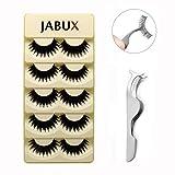 JABUX 5 Pairs Black Long Thick Handmade Messy False Eyelashes Voluminous Reusable Fake Eye Lash Extension For Makeup(Free Eyelash Applicator Tool Fish