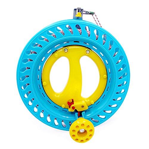 EMMAKITES abschließbarer Kite-Rollenwickler 22cm (Dia) MACARON blau mit 120lb Dacron-Linie glattes Drehkugellager-Werkzeug für Einleiner-Drachenfliegen aufblasbarer Delta-Oktopus ein weiterer großer Knopf -
