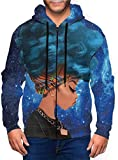sujie Afro Girl Blue Hair Zip Up Graphic Hoodie Novelty Hooded Sweatshirts Pullover Jacket for Men