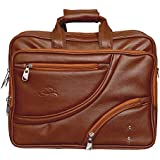 Leather World Expandable 15.5 Inch Tan PU Leather Handmade Laptop Bag Cross Over Shoulder Messenger Bag Office Bag   Laptop Briefcase Laptop Bags