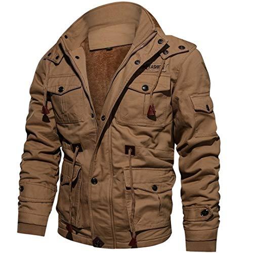 BGFHDLWESR Dicke Warme Herren Parka Jacke Winter Fleece Multi-Pocket LäSsige Taktische Armee Jacke Khaki XXL