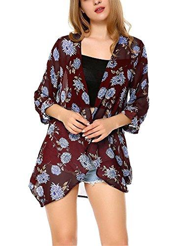 Dromild Frauen Floral Kimono Sommer Beachwear vertuschen Boho Chiffon Cardigan Tops (Sleeve Kimono Top)
