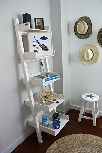 Liza line scaffale di legno scaletta premium, mensola scala, libreria scaffale, stand, scaffalature per cucina, soggiorno, bagno, camera, officio - 165cm (bianco)