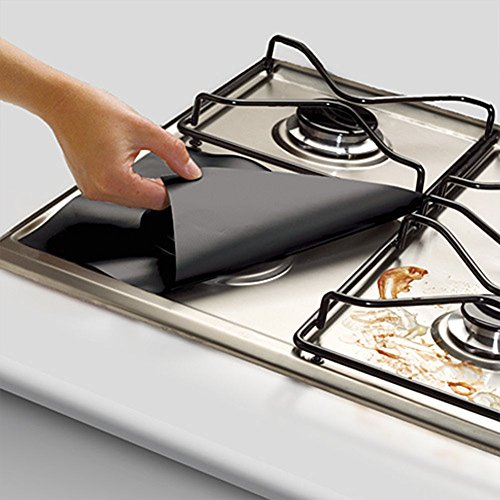 Reusable Gas Hob Protector Teflon Sheet Pack of 4, Hob Stove-top Burner Covers, Universal Heavy Duty Oven Liner, Non-Stick Foil, Lining Easy Clean, FDA-Approved, Black by PurpleSalt®