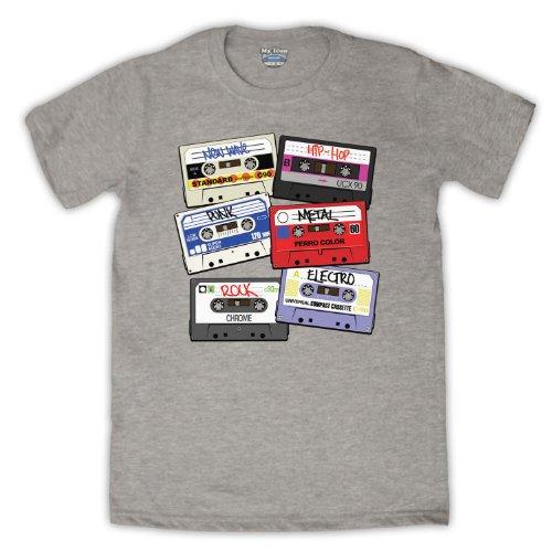 Cassette Tapes Retro Mix Tape Herren T-Shirt Grau