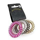 Amber Haarband-Set in Spiralen-Optik, in Gold, Silber, Metallfarben, elastisch, 4 Stück