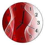 Glasuhr von DekoGlas 30cm runde Bilderuhr aus Acrylglas mit lautlosem Quarzuhrwerk Glaswanduhr Dekouhr Uhr Wanduhren aus PMMA Küchenuhr Glasbilder Wanddekoration Abstrakt rot