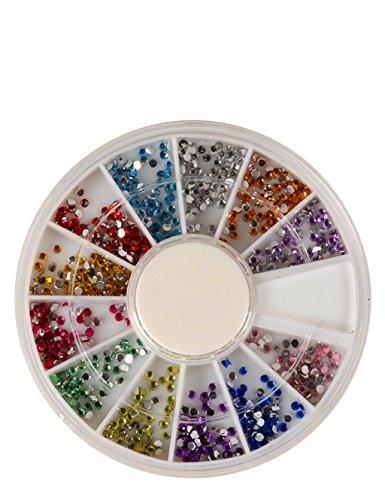 Carrousel pour pierres strass couleurs diverses, Rondes petites, argent, rose, or, pourpre, jaune, bleu clair, bleu, rouge, vert, brun